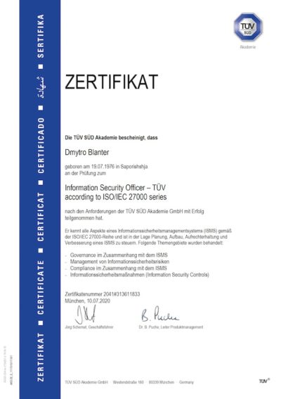 ZERTIFIZIERTER INFORMATION SECURITY OFFICER (TÜV)