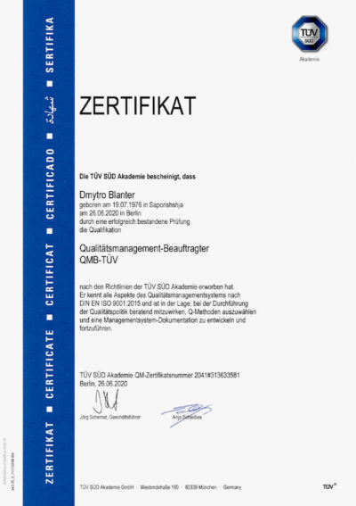 ZERTIFIZIERTER QUALITÄTSMANAGEMENT-BEAUFTRAGTER (TÜV)